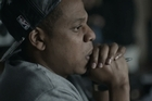 Jay-Z has choked up while talking about his wife Beyonce and one-year-old daughter Blue Ivy.