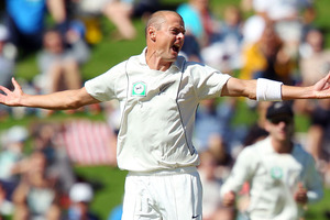Black Caps and Auckland Aces fast bowler Chris Martin announced his retirement from all forms of cricket today. Photo / Getty Images.