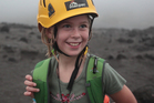 Molly Ambrose on her first visit to the top of Yassur volcano on Tanna Island in Vanuatu. Photo / Bradley Ambrose