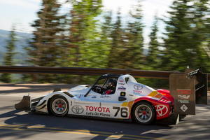 Rod Millen says the Toyota TMG EV P002 racecar's 400kW of power keeps it competitive with combustion-powered Pikes Peak racers. Photo / Alastair Ritchie
