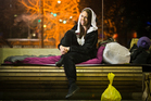 Jacinda Ardern slept rough in her panda onesie for the Lifewise Big Sleepout last night. Photo / Greg Bowker