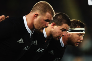 The All Blacks front row packs down against France. Photo / Getty Images