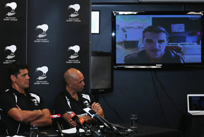 Stephen Kearney (left) and Tony Iro listen as Ivan Cleary gives his thoughts on his new appointment via Skype. Photo / Getty Images