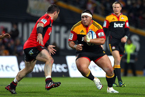 Chiefs prop Ben Tameifuna was hit with an off-field yellow card after his side were thrashed by the Crusaders in Christchurch last night. Photo: Anthony Au-Yeung / photo