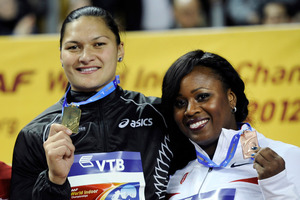 Valerie Adams and Michelle Carter medalled at last year's world indoors. Photo / AP