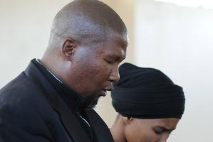 Grandson of Nelson Mandela, Mandla Mandela, left, and his wife Malentle Makhathini-Mandela. Photo / AP