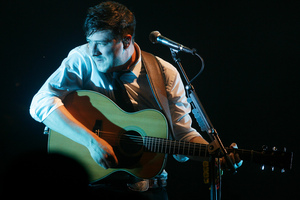 Marcus Mumford of Mumford & Sons performs at the Glastonbury Music Festival. Photo / AP