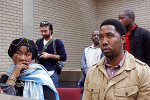 Makaziwe Mandela, daughter of former South African president Nelson Mandela, left, and grandson Ndaba Mandela, right, sit in court in Mthatha, South Africa. Photo / AP