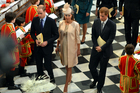 Britain's Duke and Duchess of Cambridge and Prince Harry. Photo / AP