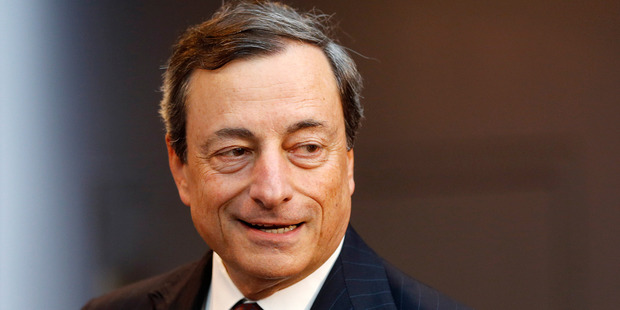 President of European Central Bank Mario Draghi on his way to a news conference in Frankfurt, Germany, this week. Photo / AP