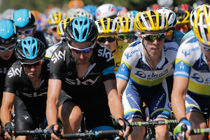 Simon Gerrans of Australia, wearing the overall leader's yellow jersey, rides in the pack during the sixth stage of the Tour de France cycling race over 176.5 kilometers (110.3 miles). Photo / AP