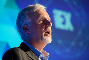 Oscar winning Director James Cameron talking at the London Film Museum  in May. Photo / AP