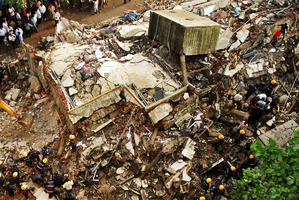 The debris of a collapsed building in Mumbai on June 22. Photo / AP