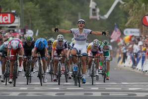 Marcel Kittel of Germany celebrates winning ahead of Alexander Kristoff of Norway, second place and third left, during the first stage of the Tour de France cycling race over 213 kilometers.Photo / AP