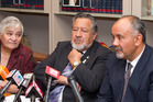 Pita Sharples, flanked by Maori Party co-leader Tariana Turia and MP Te Ururoa Flavell, during the press conference where he announced his decision to stand-down as co-leader. Photo / Mark Mitchell