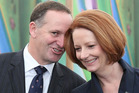 Prime Minister John Key and Julia Gillard. Photo / Greg Bowker