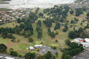Aerial photo of the Manukau Golf Club golf course. Photo / Brett Phibbs