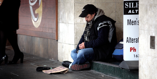 Beggars are an embarrassing reminder of how the council has failed. Photo / Doug Sherring