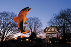 The giant trout in the main stree.