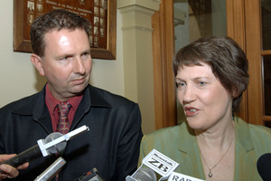 Labour's secretary Tim Barnett - who confirmed the rule change today - with former Labour leader Helen Clark in 2005. File photo / APN