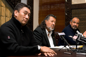 Hone Harawira (left), Pita Sharples and Te Ururoa Flavell. Photo / NZPA