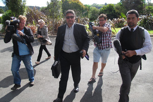 Commissioner Mike Eru arriving at Moerewa School last year, where media outnumbered protesters. Photo / APN