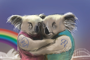 Illustration for Gay Marriage Equality in Australia. Image / Rod Emmerson