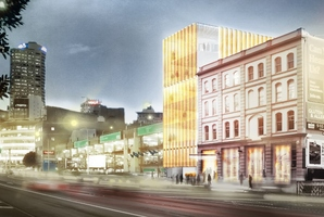 Artist's impression of the refurbished Kauri Timber Building at 104 Fanshawe St, Auckland.