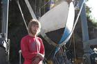 American Sean D'Epagnier and his 8m sailboat Alexandra. Photo / Peter De Graaf