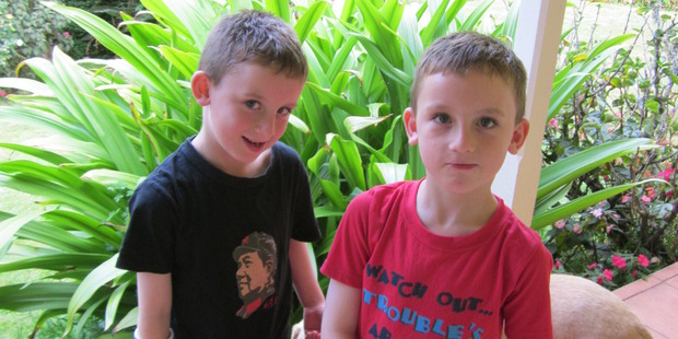 Twins Kyle (left) and Ethan Hanlon were left with three fractured wrists between them when an inflatable slide blew away at a Christmas party last year