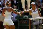 Sabine Lisicki (L) of Germany shakes hands with the defeated Agnieszka Radwanska of Poland following the Ladies' Singles semi final match on day ten of Wimbledon. Photo / Getty Images.