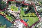 Western Springs, as it will be used for the Big Day Out in January. Photo / Google Earth/Herald graphic