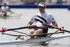 Mahe Drysdale rows in the Diamond Challenge Sculls. Photo/AP