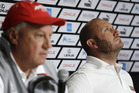 Max Sirena, right, skipper of Luna Rossa Challenge from Italy, looks up during a news conference. Photo/AP
