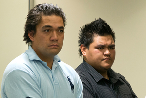 Enesi Zane Brooks Taito, (left) and Tohara Harawira in the dock during their appearance at the Auckland District Court. Photo / Brett Phibbs