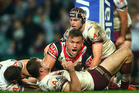 Jared Waerea-Hargreaves of the Roosters claims a try that was later disallowed. Photo / Getty Images