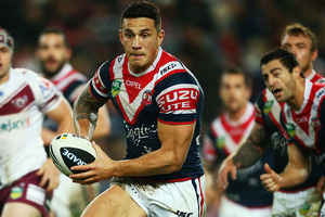 Sonny Bill Williams put on another masterclass as the Roosters moved up to second spot on the ladder with an 18-12 win over Manly. Photo /Getty Images