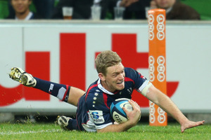 Bryce Hegarty of the Rebels scores the match-winning try. Photo / Getty Images