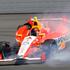 E.J. Viso, of Venezuela, slides through Turn 1 during qualifying for Sunday's Pocono IndyCar 400 auto race. Photo / AP