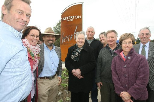 Carterton Mayor Ron Mark and council dignitaries are unveiling new lit signage welcoming travellers to the town.  Pictured from left Brian McWilliams, Mayoress Chris Tracey, Mayor Ron Mark, councillors Babara Durban, John Booth, Elaine Brazendale, Bill K
