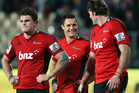 Matt Todd, Dan Carter and Tom Donnelly of the Crusaders following the round 19 Super Rugby match between the Crusaders and the Chiefs. Photo / Getty Images.