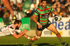 Greg Inglis of the Rabbitohs runs with the ball during the round 17 NRL match between the South Sydney Rabbitohs and the New Zealand Warriors. Photo / Getty Images.