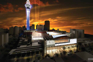 An artist's impression of the convention centre, which will take three years to build and will provide 1000 construction jobs, says SkyCity.
