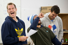 Blues captain Ali Williams, Rene Ranger and Anthony Boric share a joke during a Thursday meeting. Photo / Greg Bowker