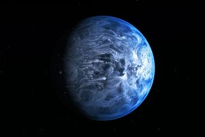 The blue of HD 189733b is created by liquid glass being hurled horizontally in 7000km/h winds. Photo / Nasa