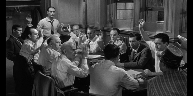 The jury scenes in the classic movie  12 Angry Men  have nothing to do with the reality of today's courtrooms in which justice often seems secondary to the legal system.