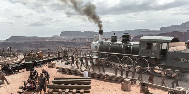 Loading A behind the scenes look at one of the train scenes from 'The Lone Ranger'. Photo / AP