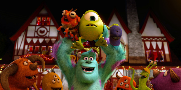 "Mike and Sully in a scene from ""Monsters University."""