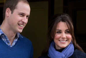 Prince William with his wife as they leave the hospital in the early stages of the pregnancy.Photo / AP