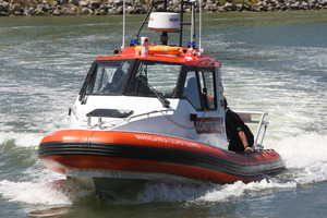 Wanganui Coastguard recovered the catamaran 2km downstream. Photo / WC